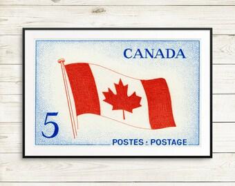 Canadian flag poster, Canada flag art, Canada Postage Stamps, Canadian stamps, Canada wall art, large wall art prints, Canadian flag prints