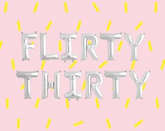 "FLIRTY THIRTY Letter Balloons | 16"" Silver Letter Balloons | Metallic Letter Balloons | Silver Party Decorations"