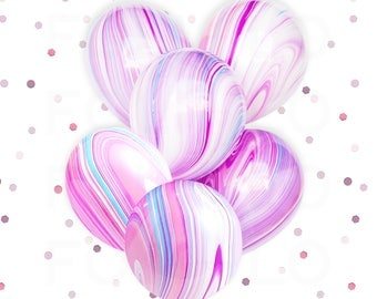MARBLE BALLOONS | Unicorn Theme Balloons | Pink and Purple Color Theme Party | Mermaid Party Theme | Under the Sea Party Theme | Set of 5