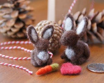 Needle felted bunnies for Valentine's Day