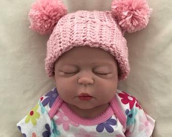 Newborn Crocheted pink pom pom hat, Girls pink hat, Pink pom pom hat, Pink photo prop, Girls photo prop, Crocheted pink hat, newborn pink ha
