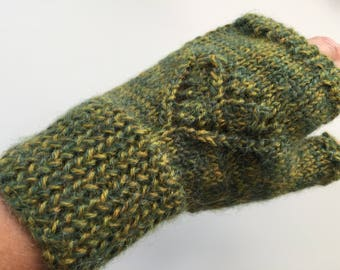 Hand knitted, fingerless 'warm hand, warm heart' mitts - size S/M