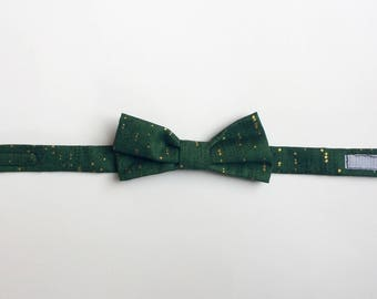 Green and gold children's bow tie