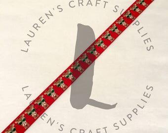 "Rudolph Ribbon | Reindeer Ribbon | Christmas Ribbon | Rudolph the Red Nose Reindeer | US Designer Ribbon | 7/8"" Ribbon | Grosgrain Ribbon"