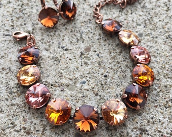 AUTUMN BRONZE Swarovski crystal 12mm jewelry set in copper - necklace, bracelet, earrings - rose, topaz, and neutral tones