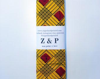 Yellow and Red Headwrap // African Print Grid Headwrap // Ankara Headwrap
