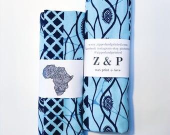 Blue Headwrap // Indigo African Print Headwrap // Baby Blue and Navy Beadwrap // Ankara Headwrap