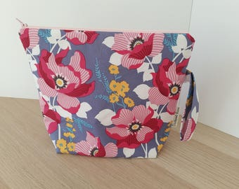 Medium Sized Project Bag - Pink and Lilac Floral - Ready to Ship
