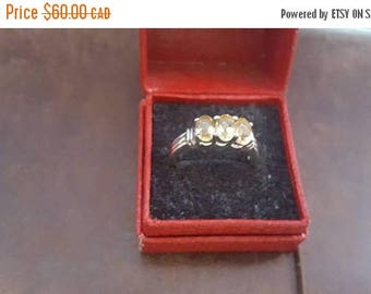 ON SALE Vintage Sterling Silver and Yellow Stone Ring