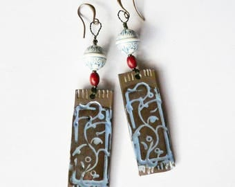 "Ceramic earrings ""Cyclades"", black and blue plant decoration, unique handmade"