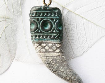 Raku tribal antique claw pendant, handcrafted ceramic handmade, unique creation