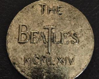 Beatles brass 1964 coin pendant vintage jewelry 60s Record LP John Lennon