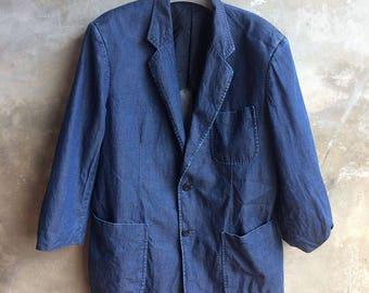 Vintage Lancel Paris Blue Blazer Size L