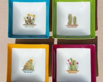 Set of four square cut Cactus porcelain