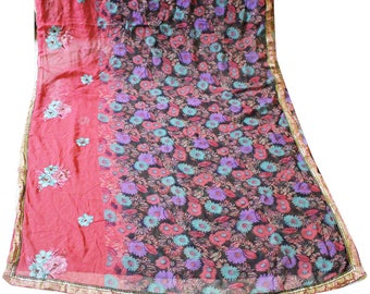 Multicolor Fabric Sari Indian Vintage Used Printed Craft Fabric Dress Material Sewing Home Decor Floral Wrap Saree Scrap Decorative