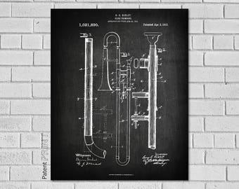 Trombone Gifts, Trombone Art, Trombone Decor, Trombone Player Gift, Trombone Teacher Gift, Trombone, Trombone Blueprint Patent, MT890