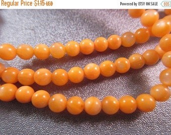 ON SALE 15% OFF Mother Of Pearl Orange Round 4-5mm Beads 86pcs