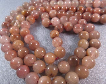 Red Phantom Rutilated Quartz Round 8mm Beads 51pcs