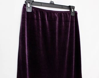 Vintage Sparkly Velvet Skirt // Purple maxi midi skirt // 90s skirt with slit // Size Small