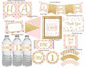 Pink and Gold First Birthday Party Package, Pink and gold 1st Birthday, First Birthday Party Decorations, Polka Dot,Printable ,Digital