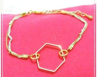 16k Gold Plated Brass , Lacquer Coated Brass Bracelet,  Hexagonal Shape, White