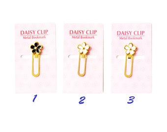 Brass Bookmarkers, Flower, White, Pink, Black