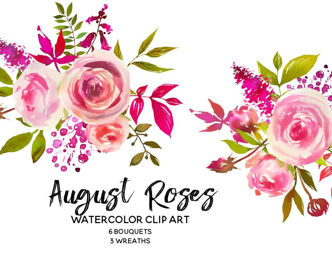 Pink Peach Roses Watercolor Flowers Peonies Clipart Set