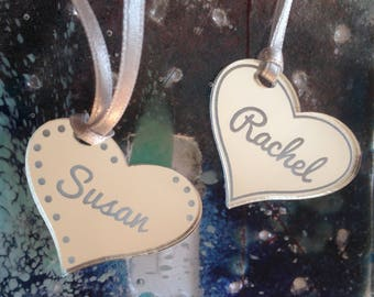 Personalised Silver Hearts - Wine Glass Charms - Hen do - Party Favours - Wine Tasting - Wedding Table -  Keepsake - Key Ring