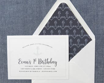 "Sailboat Birthday Invitation - Nautical Party Invite - Printed Invitations (A6 - 6.25""x4.5"") - Navy and Blue Anchors"