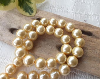 Set of 10 beads glass Pearl 12mm ECRU color