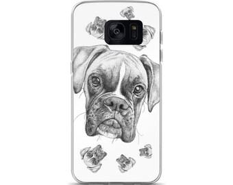 Boxer Dog Samsung Case: Handmade Stippling Art