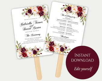 Fan Program Template, Fan Wedding Program, Ceremony Program, Printable Wedding Program, Order Of Ceremony, Editable Wedding Program, Marsala