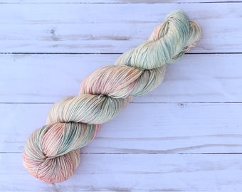Victorian Peach, hand dyed yarn, Peach, green, cream, variegated, sock, dk