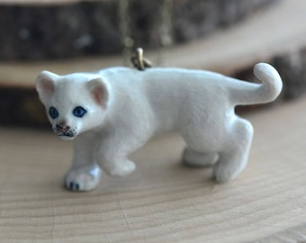 Hand Painted Porcelain White Lion Cub Necklace, Antique Bronze Chain, Vintage Style, Ceramic Animal Pendant & Chain (CA213)
