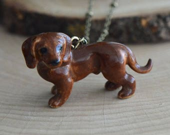 Hand Painted Porcelain Red Dachsund Necklace, Antique Bronze Chain, Vintage Style, Ceramic Animal Pendant & Chain (CA172)