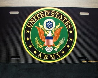 US ARMY Metal Novelty License Plate For Cars And Trucks  U.S. ARMY  Carbonfiber Look