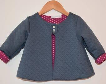 Quilted baby boy or girl fleece jacket