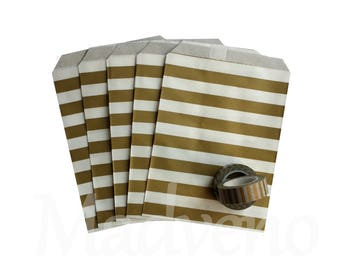 Bags-set of 10 Christmas gold striped kraft paper / gold