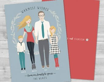 Custom Family Portrait Christmas Cards, Family Portrait Illustration Christmas Card Custom Illustrated Family Portrait Photo Christmas Cards