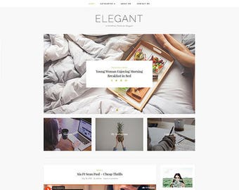 Elegant - Wordpress theme - Feminine wordpress theme - Responsive WordPress Theme - Blog template - Fashion template - Wordpress blog theme