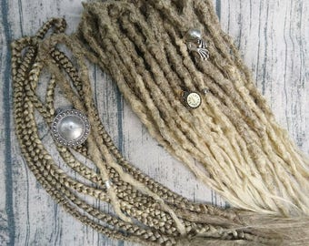 Ready made synthetic dreads. Ombre dreads. Boho dreads. Natural looking dreads. Bohemian style. Full Set of Crocheted dreads ombre mix color