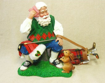 Vintage Golfing Santa Figurine with Bag of Clubs, Golf Lover Gift, Man Cave Decor