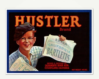 Hustler Brand California Bartletts Crate Label Print - Vintage California Fruit Crate Label Art