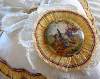 Hanging heart romantic white linen and antique porcelain Medallion