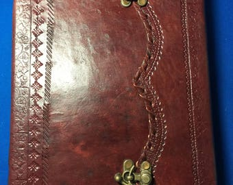 "Large Leather Journal 10"" x 7"" Handmade Paper with Brass Locks"