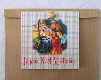 """Merry Christmas teacher"" gift bag 1 Manger, 25 x 16"
