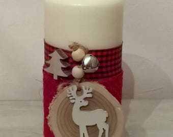 Ecru Christmas candle wood reindeer and Bell 15 cm