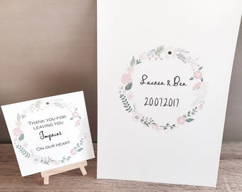 Personalised wedding guest book, fingerprint, advice & wishes. Signature