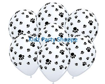 "Paw Prints Balloons [7ct] 11"" Latex Puppy Dog Kitty Cat Animal Birthday Party Decorations Supplies"