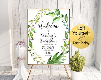 Welcome Sign Template, Greenery Welcome Sign, Greenery Bridal Shower Welcome, Bridal Shower Welcome Sign, Greenery Welcome, Editable Welcome